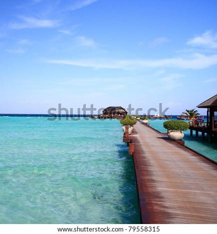 beautiful bridge iin maldives, olhuveli - stock photo