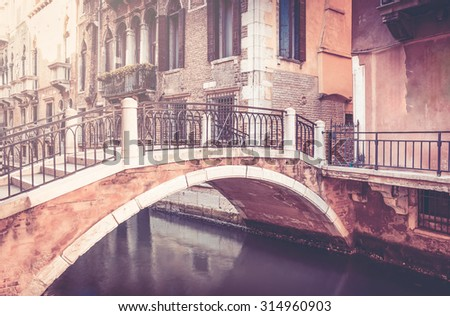 Beautiful bridge in antique Venice city, Italy - stock photo