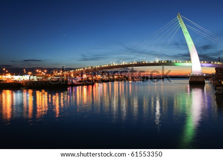 beautiful bridge night scene in taiwan, taipei - stock photo