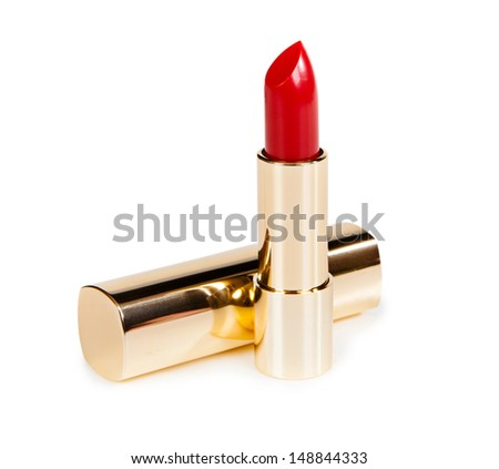 Beautiful bright lipstick in a gold box isolated on white background - stock photo