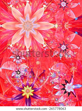 Beautiful bright shining modern high resolution flower field background with a detailed decorative flower pattern creating an original flower field, all in red,pink,blue - stock photo