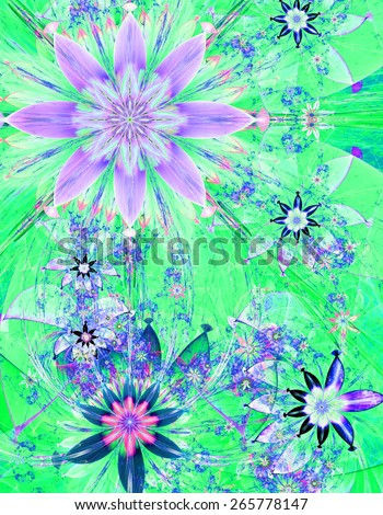 Beautiful bright shining modern high resolution flower field background with a detailed decorative flower pattern creating an original flower field, all in pink,blue,green - stock photo