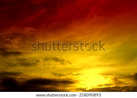 beautiful bright sunset, gloomy sky in clouds - stock photo