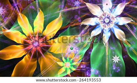 Beautiful bright vivid modern high resolution flower background with a detailed flower pattern with plastic natural looking 3D leaves, all in high resolution and in yellow,green,pink,blue,silver - stock photo