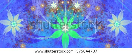 Beautiful bright vivid modern high resolution flower background with a large central natural looking flower and two smaller ones on the sides with decorative flower pattern, all in blue,cyan,pink - stock photo