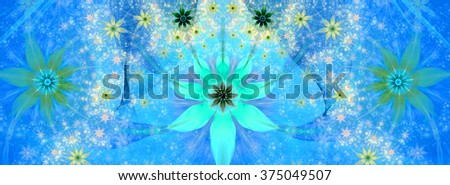 Beautiful bright vivid modern high resolution flower background with large central natural looking flower and two smaller ones on sides with decorative flower pattern, all in cyan,blue,green,yellow - stock photo