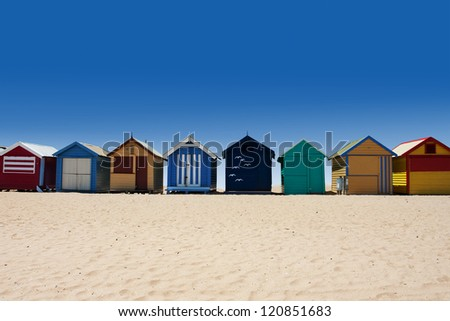 Beautiful Brighton Beach with colorful houses in Melbourne, Australia - stock photo
