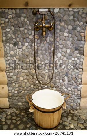Beautiful bronze shower in a warm bath - stock photo