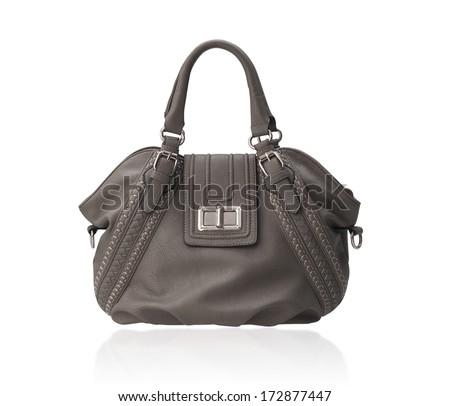 Beautiful brown woman fashion handbag isolated on white background - stock photo