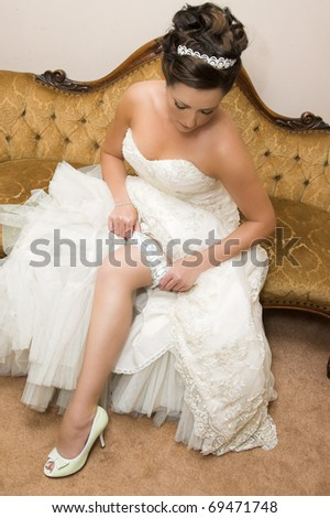 Beautiful brunette bride wearing diamond jewelery and tiara - stock photo