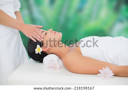 Beautiful brunette enjoying a head massage at a luxury spa - stock photo