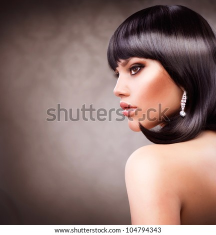 Beautiful Brunette Girl. Haircut. Hairstyle - stock photo