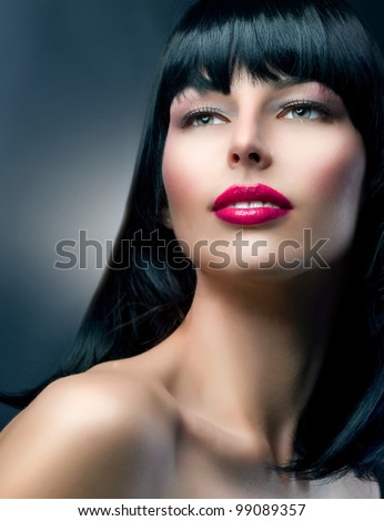 Beautiful Brunette Girl.Healthy Hair. Fashion Model Portrait. Makeup.Hairstyle - stock photo