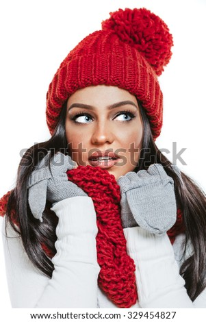 Beautiful brunette girl model in winter clothes - stock photo