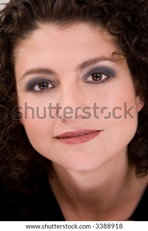 beautiful brunette in closeup portrait - stock photo
