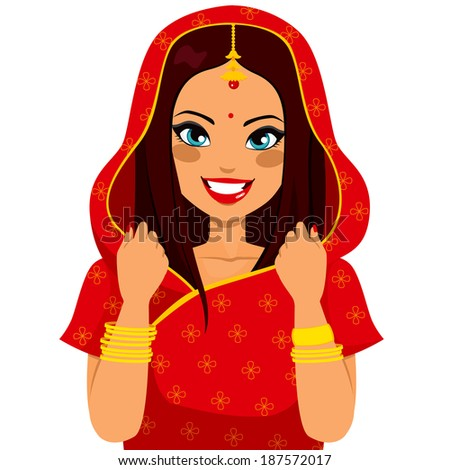 Beautiful brunette indian woman smiling happy with traditional red sari - stock photo