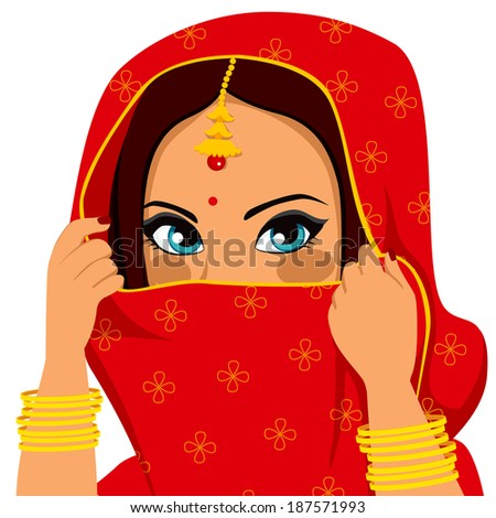 Beautiful brunette indian woman with traditional red sari covering and hiding her face - stock photo