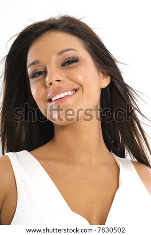 beautiful brunette model smile - stock photo