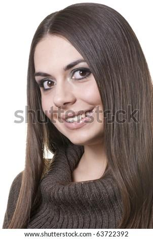 Beautiful brunette posing - stock photo