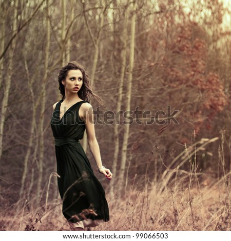 beautiful brunette posing in the park - stock photo