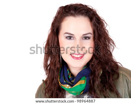 Beautiful brunette smiling - stock photo
