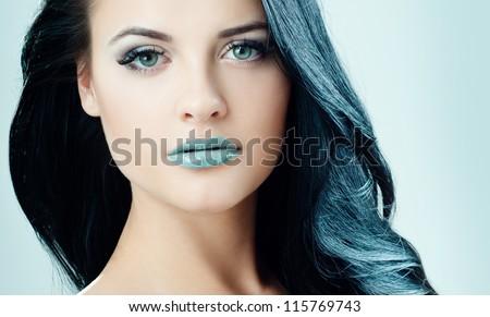 beautiful brunette   with a bright lipstick - stock photo