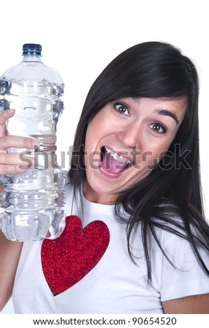 beautiful brunette with a water bottle on white background - stock photo