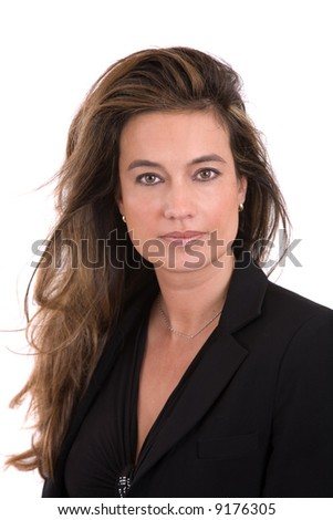 Beautiful brunette with long flowing hair - stock photo