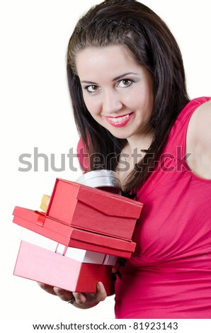 Beautiful brunette with lot of presents - stock photo