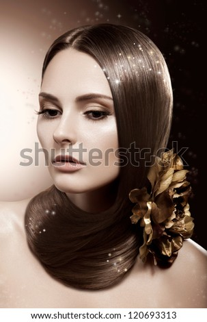 Beautiful Brunette Woman. Healthy Long Straight Toned Hair - stock photo