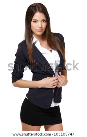 beautiful brunette woman isolated on white - stock photo