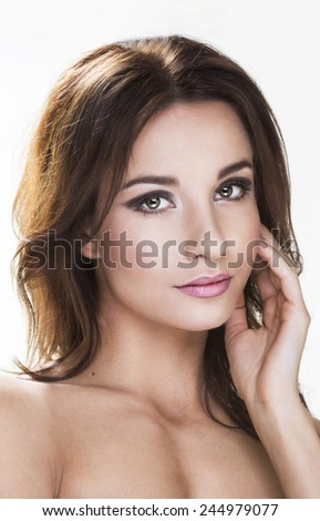 Beautiful brunette woman portrait  - stock photo
