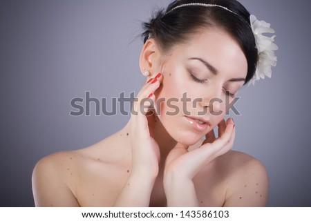 Beautiful Brunette Woman Portrait Nude Makeup - stock photo