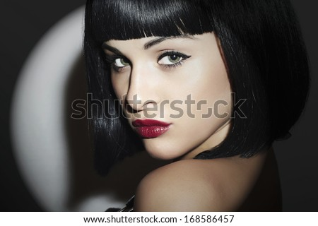 Beautiful Brunette Woman. Retro style. Healthy Black Hair. bob Haircut. red lips. Beauty Sexy Girl.  - stock photo