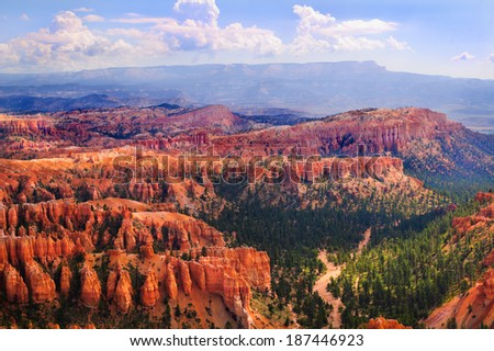 Beautiful Bryce Canyon, part of the scenic trail down - stock photo