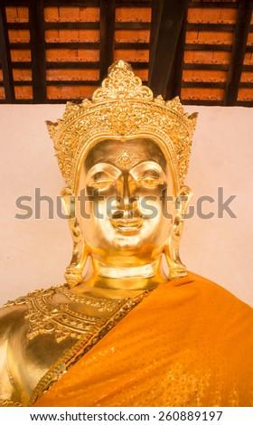 Beautiful buddha image at buddhism temple in Lamphun, Thailand - stock photo