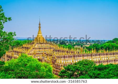 Beautiful Buddhist Pagoda in Myanmar, Southeast Asia - stock photo