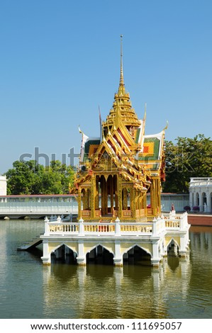 Beautiful Buddhist temple on water in Thailand - stock photo