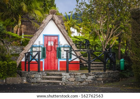 beautiful building typical for Madeira island, Portugal - stock photo