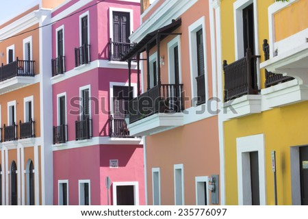 Beautiful buildings in Old San Juan representing the colorful colonial style architecture of Puerto Rico - stock photo