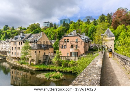 Beautiful buildings in Pfaffenthal, Luxembourg City - stock photo