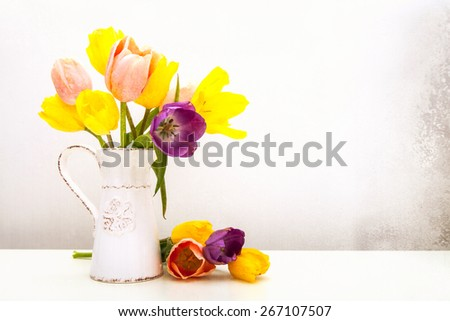Beautiful bunch of tulips in an old milk pitcher with loose flowers resting on a white table. Aged textured photo filter effect applied. - stock photo