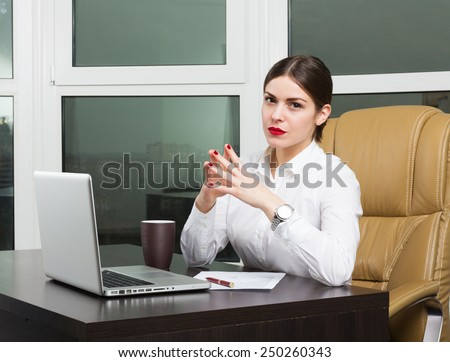 Beautiful business lady in office - stock photo