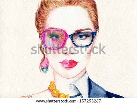 Beautiful business woman and lady in glasses  - stock photo