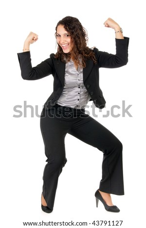 beautiful business woman celebrate her success showing strength - stock photo