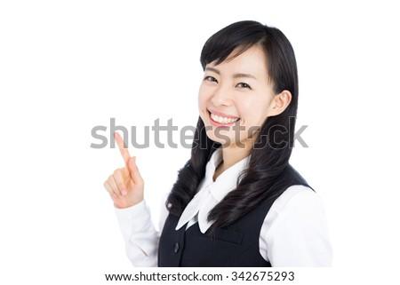 beautiful business woman explaining isolated on white background - stock photo