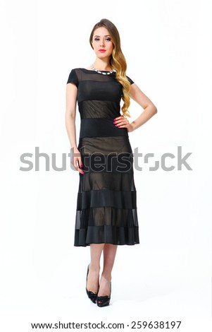 beautiful business woman fashion model girl in summer black dress - stock photo