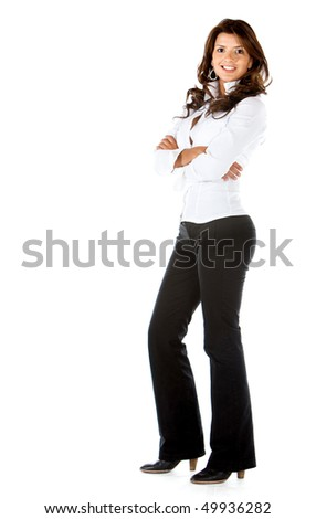 Beautiful business woman isolated over a white background - stock photo