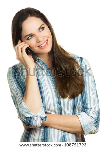 Beautiful business woman laughing and talking on her mobile phone. Isolated over white. - stock photo