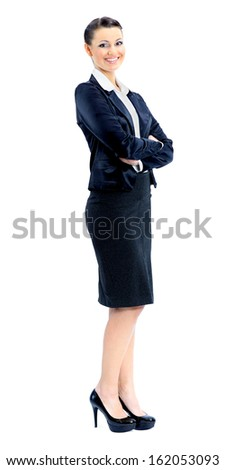 Beautiful business woman nice smiles. isolated on a white background. - stock photo